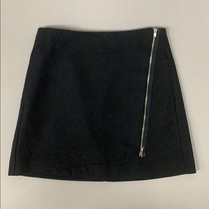 Black Wool Wrap Mini Skirt